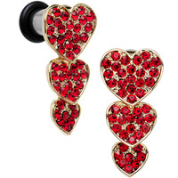 2 Gauge Red Gem Steel Triple Heart Single Flare Dangle Plug Set | Body Candy Body Jewelry