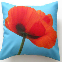 Red Poppy Flower Turquoise Teal Blue Pillow Cover 16 inch, Decorative Throw Pillow Cover, Cushion Cover, Sham