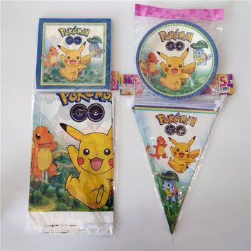 42pcs\lot Kids Favors Pikachu Napkins Baby Shower Party Plates Cups  Go Tablecloth Gift Bags Birthday Decoration SuppliesKawaii Pokemon go  AT_89_9
