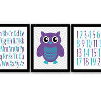 ABC Wall Art, Numbers Art, Set of 3, Owl Art, Owl Nursery, Girls Room, Nursery Decor, Kids Wall Art, Purple and Turquoise, INSTANT DOWNLOAD