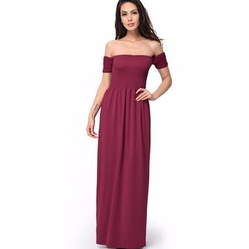 New Arrival Casual Fit And Flare Solid Short None Floor-length Off The Shoulder Empire Strapless Summer Dresses