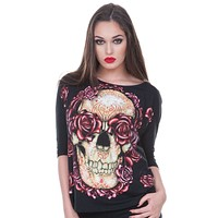 Jawbreaker Rockabilly Love Large hamsa skull tattoo & Roses 3/4 sleeves Top