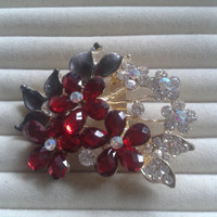 red and grey  crystal flower rhinestone goldtone  brooch  pin