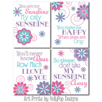 Girl Nursery Decor You are My Sunshine Wall Art Girls Room Wall Art Pink Purple turquoise Prints Toddler Girls Room Pink Purple Art Prints