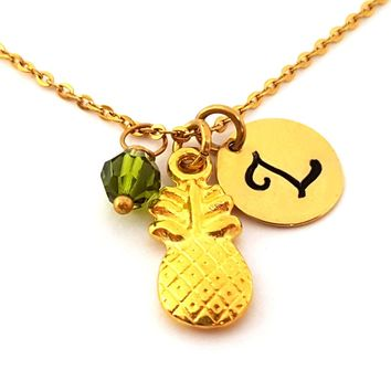 Pineapple Necklace - Gold Initial Necklace - Birthstone Necklace - Gold Initial Necklace - Personalized Necklace - Gift for Her