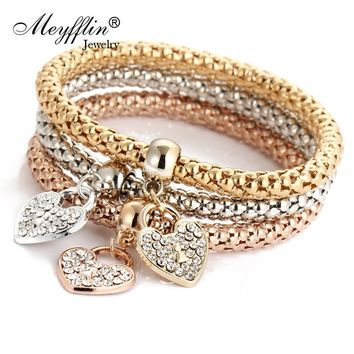 3PCS Set Crystal Heart Bracelets & Bangles