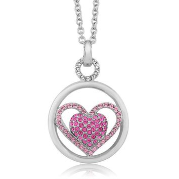 Nirano Collection Pink and White Heart Pendant Created with Swarovski® Crystals