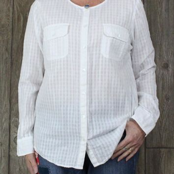 Nice Lucky Brand XL size White Blouse Womens Cotton Top