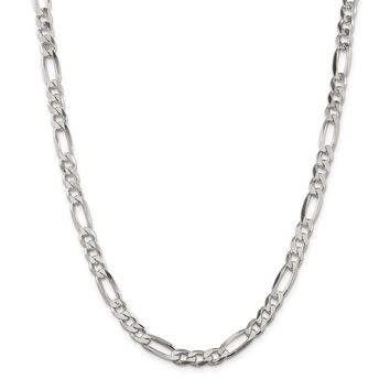 925 Sterling Silver 6.5 to 6.7mm Figaro Chain Necklace, Bracelet or Anklet