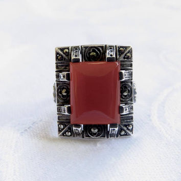Art Deco Carnelian Ring, Sterling Marcasite Ring, Size 5 1/2,  Vintage Art Deco Jewelry