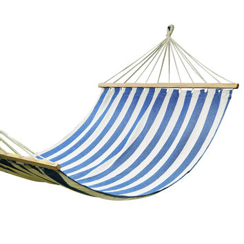 Blue Striped Outdoor Hammock Chair with Spreader Bar