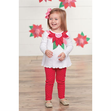 MUD PIE POINSETTIA TUNIC & LEGGINGS SET - Baby Girls 0-6M, 6-9M, 9-12M
