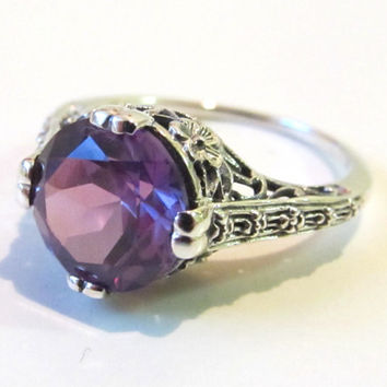 Color Change Alexandrite Solitaire Engagement Ring Sterling Silver/ Antique Vintage Victorian Art Deco Floral Engraving Filigree