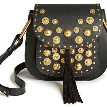 Chloe Black Shoulder Gold Studded Grommet Bag Hudson Porte Epaule New