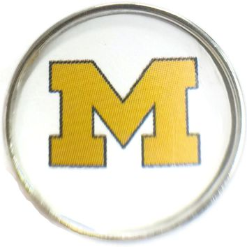 Michigan Wolverines College Logo Fashion Snap Jewelry University Snap Charm
