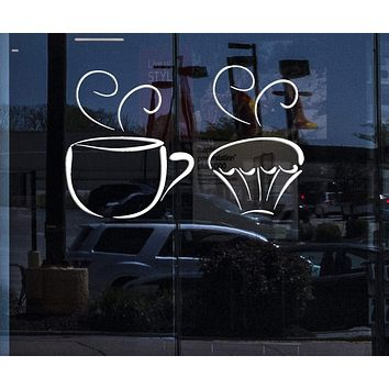 Window Vinyl Decal for Kitchen and Food Tea Cup Delicious Sweet Cupcakes Decorative Unique Gift (n408w)
