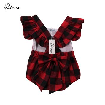Pudcoco Newborn Sleeveless Baby Girls Bow Romper Ruffle Plaid Backless Jumpsuit Clothes Outfit Cotton One-Piece 0-18M