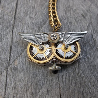 Reserved Branden B.:  Clockpunk Steampunk Watch Movement & Gears Owl Face Pendant Necklace on Brass Curb Link Chain