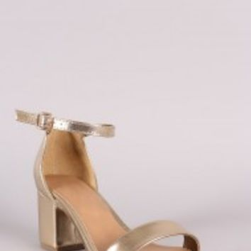 Bamboo Metallic Ankle Strap Open Toe Block Heel