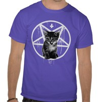 Inverted Cross & Pentagram Cat T-shirt from Zazzle.com