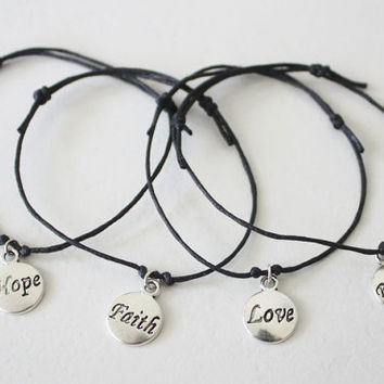 Hope Faith Love Believe Bracelet In Silver