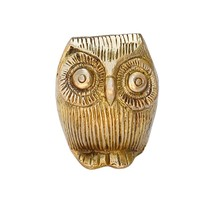 SouvNear Cute Lucky Owl Statuette with Googly Eyes - Brass Owl Figurines & Statues / Decorative Centerpiece / Paperweight - Animal Art Home & Office Decor - **Good Luck** Gifts for Men / Women - Figurine and Sculptures
