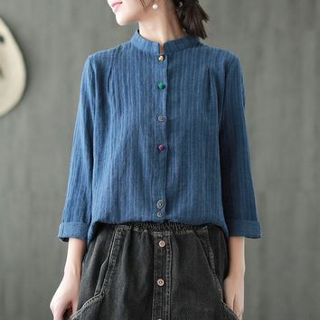 Johnature Striped Shirts Vintage Women Tops Linen Chinese Style Spring Blouses Long Sleeve Stand Casual 2019 New Women Cloths
