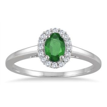 6x4MM Oval Shape Emerald and Diamond Halo Ring in 10K White Gold