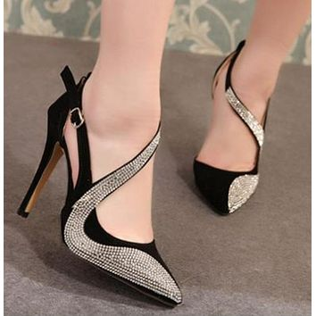 Diamonds Women Fashion Pointed Toe High Heels Shoes