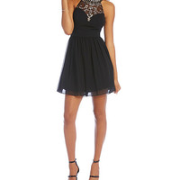 B. Darlin Beaded Illusion High-Neckline Party Dress | Dillards