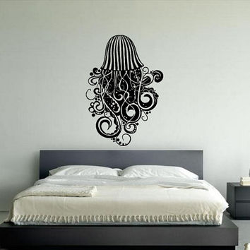 Wall Decal Vinyl Sticker Room Tattoo Decorative Floral Octopus Monster 1310