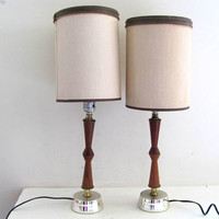 Vintage Mid Century pair of skinny bedside table lamps / brown modern teak wood