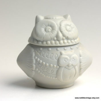 Vintage White Porcelain Owl Candle Holder with Lid and Candle , home decor, book worm, desk accessories, collectors