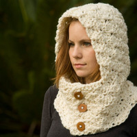 RESERVEDHooded Cowl, Wood Button Crochet hooded scarf, Cream, Off White