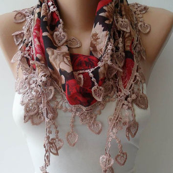 Light Brown and Red Scarf with Trim Edge - Summer Colors