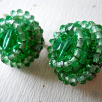 Green Cluster Crystal Earrings by VOGUE, Faceted Beads, Vintage