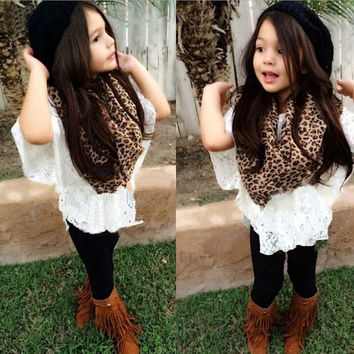 high quality 2015 summer new fashion kids baby girls clothing set lace top +vest+scarf +legging 4 pcs = 1957993284