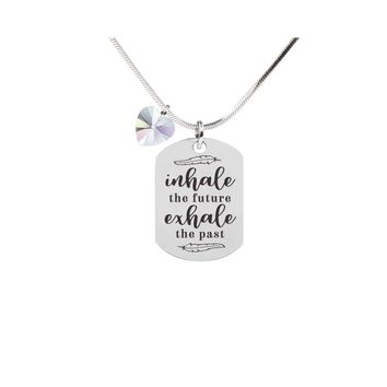 Inspirational Tag Necklace In AB Made With Crystals From Swarovski  - INHALE EXHALE