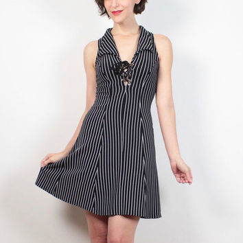 Vintage 1990s Dress Black White Pin Stripe Mini Dress Skater Dress Lace Up Corset Neckline 90s Dress Club Kid Dress Bodycon XS S Small M