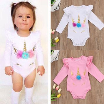 Newborn Infant Baby Girls Long Sleeve Unicorn Printing Floral Bodysuit for Summer Clothes Outfits Pink/White Jumpsuit