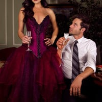 "TITELLE wedding dress ""Sulfurous Ruby"" 2013 / burgundy purple / handmade to order"