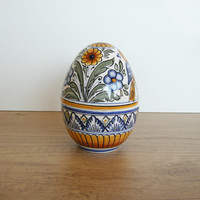Egg Bonbonniere with blue, yellow, green, brown Flower, Bird motives. Haban Ceramic. 100% Handmade Pottery. Hand painted motives. Easter.