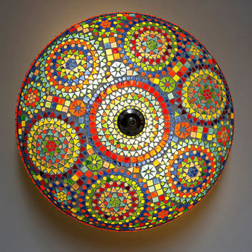 Mosaic ceiling light Ø 50 cm / 19.7 inch - multi colour glass mosaic - traditional Indian design