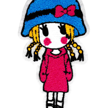 XXL Cute Standing Girl Chenille Patch 23cm