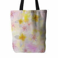 "Sylvia Cook ""White Watercolor Plumerias"" Yellow Pink Digital Everything Tote Bag"