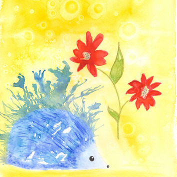 Hedgehog Art, Hedgehog Watercolor, Woodland Animal Art, Woodland Nursery Art,  Watercolor 8.5x11 print, Kids Wall Art, Woodland Creatures