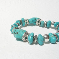 Turquoise and Silver Stacking Bracelet, Turquoise Gemstone Bracelet with Silver