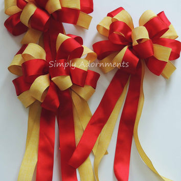 Yellow Red Wedding Pew Bow Red Yellow Wedding Aisle Bow Bridal Shower Graduation Party Decoration