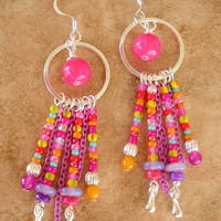 Boho Chandelier Earrings, Urban Gypsy Earrings, Colorful Jewelry, Bohemian Jewelry, Bright Multi Colors, Fashion Trends