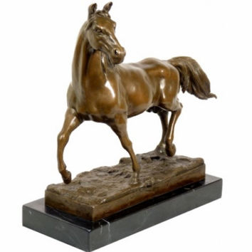 Superior animal bronze sculpture Horse / Stallion on marble base